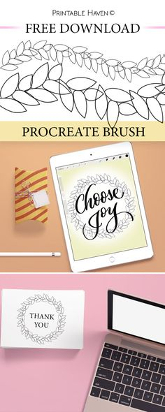 FREE Procreate brush download! Enjoy making laurels and wreaths with this fun brush from Printable Haven.