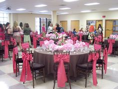 Beautiful pink chair bows! By All Seasons Event Rental