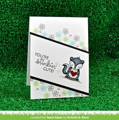 Have a stinkin' good time with this little skunk! The heart or flower fits perfectly into the skunk's hands [skunk] x Cat Cards, Kids Cards, Card Making Inspiration, Making Ideas, Wedding Shower Cards, Lawn Fawn Blog, Lawn Fawn Stamps, Hand Made Greeting Cards, Friendship Cards