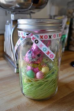 Ball mason jar easter gift gifts in jars pinterest ball easter happies dyi mason jar goodie negle Gallery