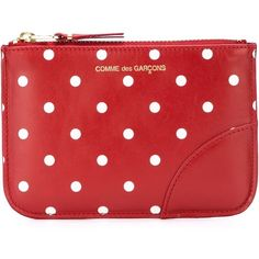 Comme Des Garçons Wallet Polka Dot Zip Wallet (1,755 MXN) ❤ liked on Polyvore featuring bags, wallets, red, zip wallet, comme des garcons wallet, red polka dot bag, zipper wallet and red bag