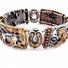 Western Theme Stretchable Bracelet Brand New Western Stretchable Bracelet Design - Stretches to Fit Most  Antiqued Gold & Silver colors  Features Iconic Western Elements: •Horseshoe •Horses  Made from Alloy Metal Jewelry Bracelets