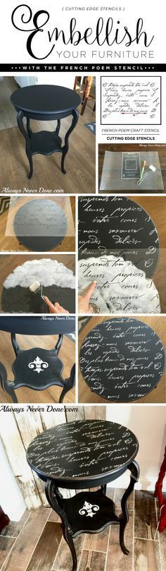 Cutting Edge Stencils shares a DIY side table makeover using the French Poem…
