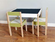 IKEA table + chalkboard paint = cute.