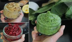 Roast Eggplant & Caramelized Onion Hummus, Beetroot Dip & Raw Basil Pesto by Ela Gale-all vegan dips Healthy Dips, Healthy Desserts, Healthy Food, Dessert In A Mug, Vegan Snacks, Vegan Food, Raw Vegan, Pasta Dishes, Vegetarian Recipes