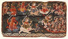 The Goddess Ambika (here identified with: Durga or Chandi) Leading the Eight Matrikas in Battle Against the Demon Raktabija, Folio from a Devi Mahatmya - (top row, from the left) Narashmi, Vaishnavi, Kumari, Maheshvari, Brahmi. (bottom row, from left) Varahi, Aindri and Chamunda, drinking the blood of demons (on right) arising from Raktabija's blood and Ambika.