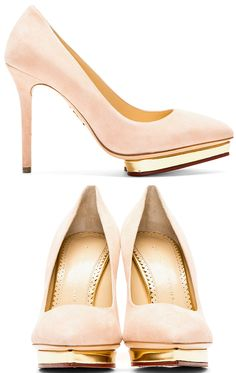 Low-top suede pumps in blush. Pointed toe. Heart-shaped platform with metallic gold trim.  http://zocko.it/LD4Ne