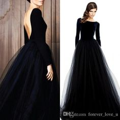 Stunning Long Sleeve Evening Gowns Velvet Dresses Black Prom Party Dress Bateau Neck Open Back Tulle Skirt Floor Length Formal Wear Sleeves Lime Green Prom Dresses Long Dresses For Prom From Forever_love_u, $140.71| Dhgate.Com