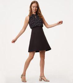 Primary Image of Petite Twist Dot Flare Dress