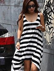 Casual Stripe Irregular Praia Vestido das mul... – BRL R$ 21,66