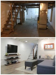 Cozy Chic Basement Reno with Exposed Painted Joists & Wood Tile Floors . Cozy Chic Basement Reno with Exposed Painted Joists & Wood Tile Floors Small Basements, Remodel, Basement Wall Panels, Diy Remodel, Rustic Remodel, Wood Tile Floors, Small Basement Remodel, Basement Decor, Remodel Bedroom