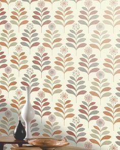 Tessa (Cream, Beige grey, Grey white shimmer, Coral red, Orange shimmer) | Vintage wallpaper | Additional Wallpapers | Wallpaper from the 70s