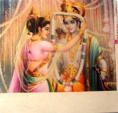 Rama Sita Wedding - Vintage Print - Old Indian Arts Cute Krishna, Krishna Radha, Krishna Lila, Lord Krishna Images, Krishna Pictures, Indian Gods, Indian Art, Ram Sita Image, Ram Image