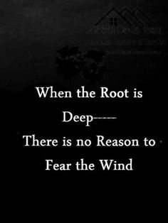 stay rooted // when the root is deep there is no reason to fear the wind.