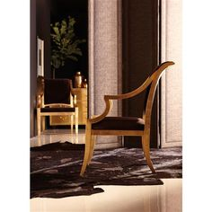 Icarus Global Bazaar Chocolate Brown Gold Leaf Arm Chair | Kathy Kuo Home