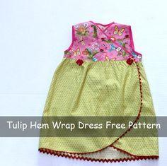 Tulip Hem Wrap Dress Free Sewing Pattern and Tutorial