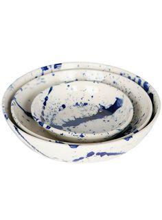 Indigo Splatter Serving Bowls (Set of 3) | Shop Now | #TRNK | trnk-nyc.com