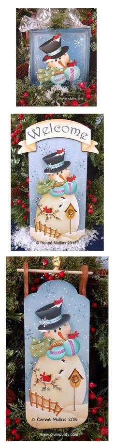 "#686 ""Frosty Feeding""  (PATTERN) Christmas Glass Blocks, Beaded Christmas Ornaments, 1st Christmas, Christmas Snowman, Snowman Crafts, Snowman Ornaments, Xmas Crafts, Snowmen Pictures, Christmas Pictures"