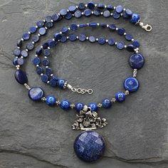 Handmade Sterling Silver Necklace Lapis Lazuli Jewelry - Midnight Lily   NOVICA
