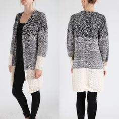 XX KYLIE ombré sweater cardigan - BLACK/CREAM 100% acrylic. Super comfy & soft. Sweater cardigan with front pockets. Model is wearing size S/M. NO TRADE, PRICE FIRM Jackets & Coats