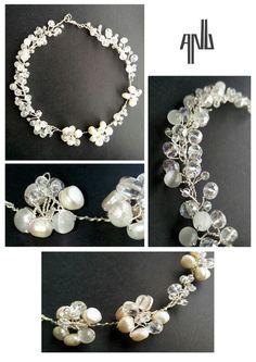 Handmade ANU Jewelry  Necklace, real pearls, pure quartz, white quartz, Czech crystal, wire