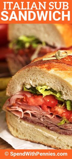 This Italian sub recipe is filled with hearty ingredients like capicola, mortadella, ham, and salami. Topped with provolone and a zesty Italian dressing it is the perfect meal for a crowd. Mortadella Sandwich, Salami Sandwich, Sandwiches For Lunch, Best Sandwich, Wrap Sandwiches, Sandwich Recipes, Italian Hero Sandwich Recipe, Quick Sandwich, Sandwich Ideas