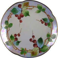 "Jaeger & Co. (JC) Bavaria Donath Studios Raspberry Design Plate (Signed ""Donath""/c.1910-1915)"