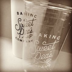 Mixing and matching cups is both professional-looking and functional. Featured here is the bakery Sweet Pea's with 20oz cups in paper and plastic. They reversed the imprint color to give the cups an extra edge. This is also a good idea for coffee shops and breweries who are offering multiple sizes and types of drinks.  #cup #marketing #bakery #idea #protip #yum #CT #connecticut #blackandwhite #b&w