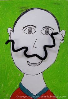 Use Your Coloured Pencils blog spot with Salvador Dali project ideas like this self portrait with pipe cleaner moustaches.