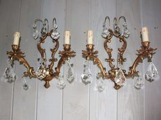 Crystal Sconces, Crystal Chandelier, Crystal Pendant light, French Lighting, Antique Wall Sconce, Antique Light Fixture, Parisian Decor