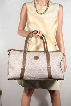 64b199ff7b26 OPHERTY & CIOCCI Collections · CHRISTIAN DIOR Vintage Tan LOGOS Canvas &  Leather DUFFEL BAG Handbag WEEKENDER Christian Dior Vintage,