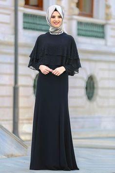 Fashion and Lifestyle Hijab Evening Dress, Hijab Dress Party, Black Evening Dresses, Abaya Fashion, Muslim Fashion, Fashion Dresses, The Dress, Dress Skirt, Estilo Abaya