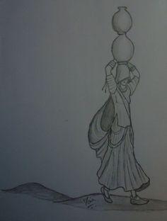 Drawing Pencil Illustration Artworks Ideas For 2019 Abstract Pencil Drawings, Pencil Sketch Drawing, Girl Drawing Sketches, Art Drawings Sketches Simple, Cartoon Pencil Drawing, Heart Drawings, Drawing Ideas, Rajasthani Painting, Rajasthani Art