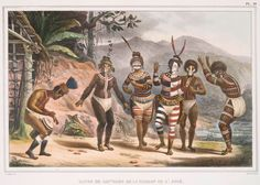 Danse de sauvages de la mission de St. José. From New York Public Library Digital Collections. 1834 - 1839