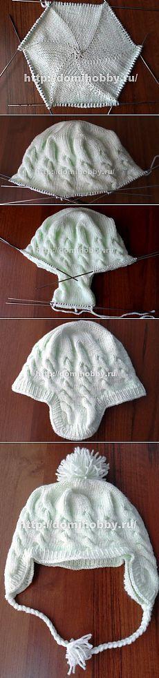 Вязание детской шапочки спицами