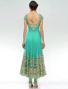 back look of Light green anarkali dress Pakistani Frocks, Pakistani Outfits, Indian Outfits, Red Lehenga, Anarkali Dress, Indian Anarkali, Indian Attire, Indian Wear, India Fashion