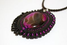 Exquisite Hand Embroidered Soutache Pendant with by Herinia, $35.00