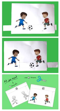 Kids Playing Soccer – Paper Activity‏