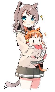 Neko You hugging Neko Chika [Love Live sunshine] Sad Anime Girl, Kawaii Anime Girl, Anime Girls, Kawaii Chibi, Cute Chibi, Manga Art, Anime Art, Fox Girl, Chibi Characters