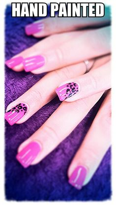 Leopard spotted nail art.  Pink