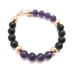 Arthritis Healing Bracelet (Amethyst, Black Tourmaline, & Copper) | New Moon Beginnings