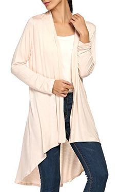 ACEVOG Womens Long Sleeve Asymmetrical Drape Open Front Lightweight Long Maxi Cardigan