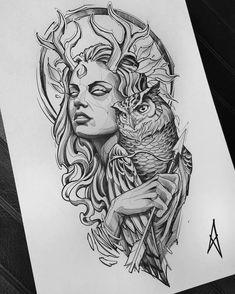 Dark Art Drawings, Art Drawings Sketches, Tattoo Sketches, Dark Art Tattoo, Body Art Tattoos, Sleeve Tattoos, Athena Tattoo, Medusa Tattoo, Valkyrie Tattoo