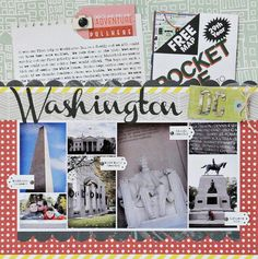Washington DC ~ w/ Pocket from Map & Adventure Notes, Tags to Label Pictures ~ Travel Journal, Scrapbook, SMASH book, Project Life, Journal