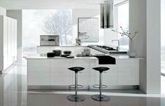 cocina blanca moderna con taburetes negros