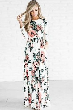 Flower Print 3/4 Sleeves High Waist Long Party Dress – Oh Yours Fashion