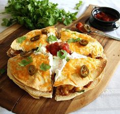 Three Layer Chicken & Bean Quesadilla ~ protein rich, oven-baked goodness