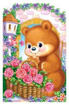 papel de carta Teddy Bear Images, Teddy Bear Cartoon, Cute Teddy Bears, Happy Face Images, Teddy Beer, Baby Animals, Cute Animals, Wall Painting Decor, Decoupage Vintage
