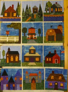 Lots of house blocks and churches and barns etc. Make it historic and add grandparents houses too! House Quilt Patterns, House Quilt Block, House Quilts, Fabric Houses, Quilt Block Patterns, Quilt Blocks, Quilting Projects, Quilting Designs, Farm Quilt