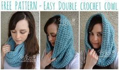 Easy Double Crochet Cowl, free crochet pattern by Katie's Crochet Goodies - a great tv project!                                                                                                                                                                                 More